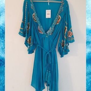 Free People 💙 NWT Turquoise Dress with Embroidery
